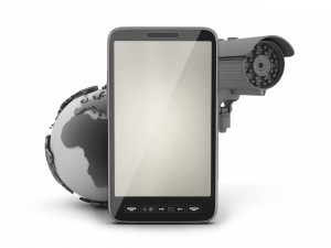 Security cam, earth globe and cell phone